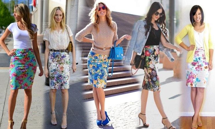 девушки в юбках с принтом и туфлях на шпильке