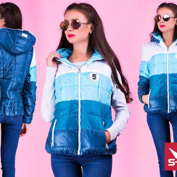 синяя женская куртка-жилетка безрукавка