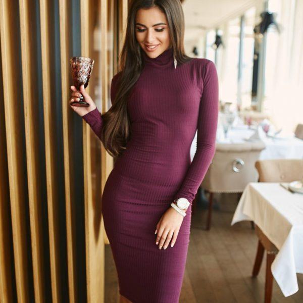 бордовое Платье водолазка