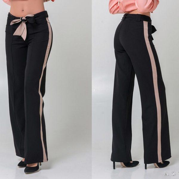 женские черные широкие брюки от бедра фото