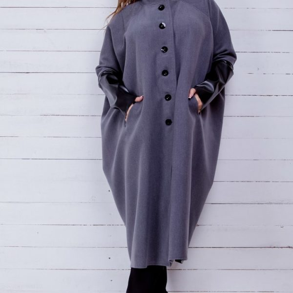 серое пальто большие размеры