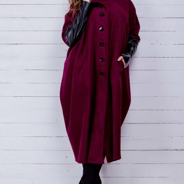 бордовое пальто большие размеры
