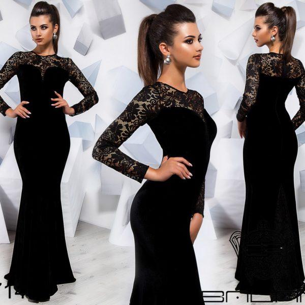 черное платье из велюра