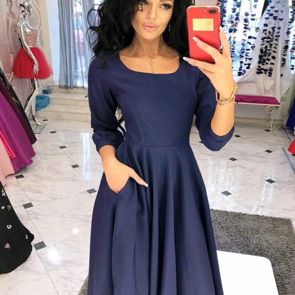 темно синее расклешенное платье