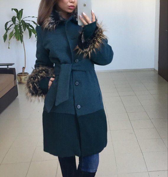 Пальто демисезонное женское с мехом