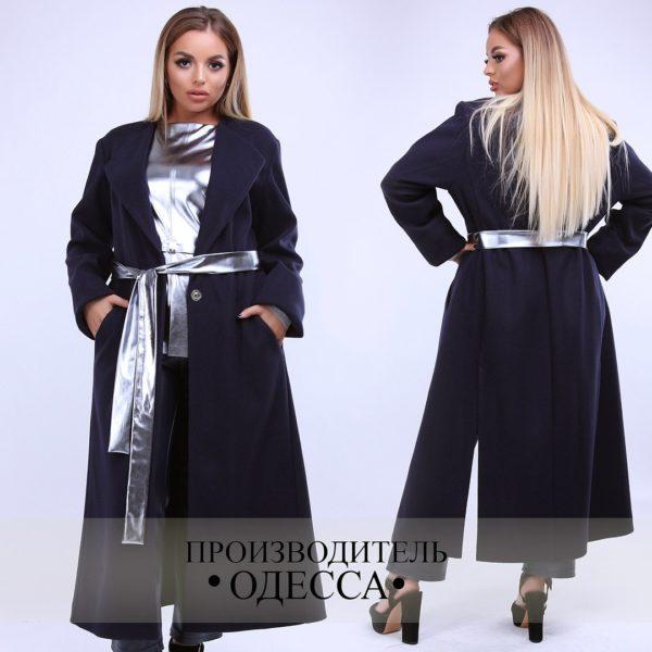 Длинное теплое женское пальто