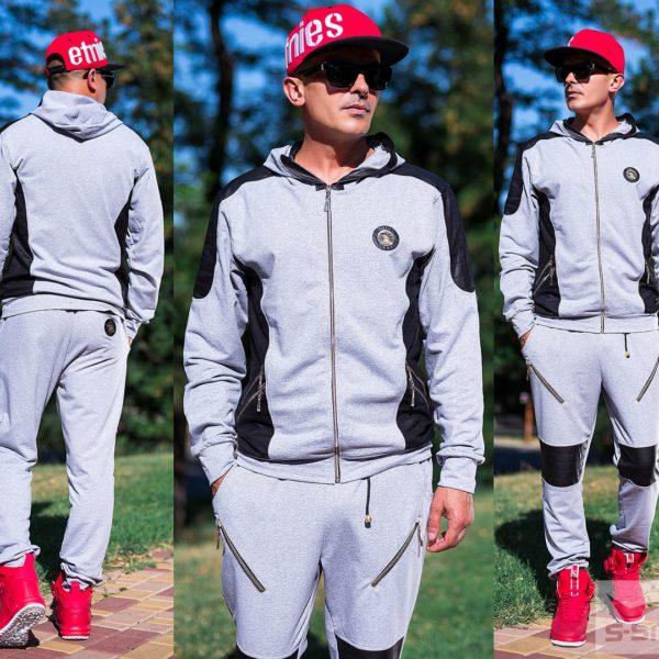 серый спортивный мужской костюм