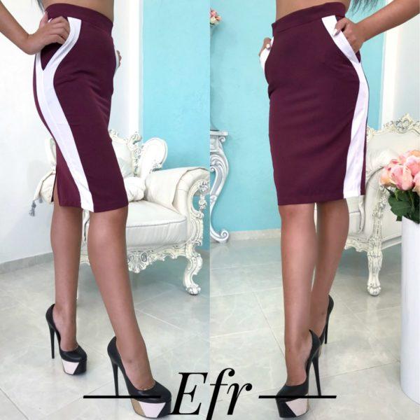 бордовая юбка с лампасами