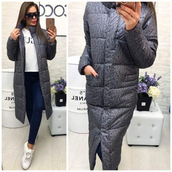 Серое длинное пальто женское