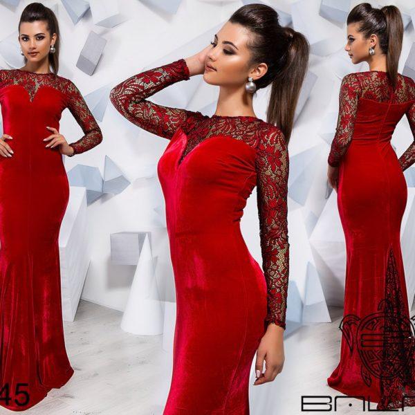 красное длинное велюровое платье