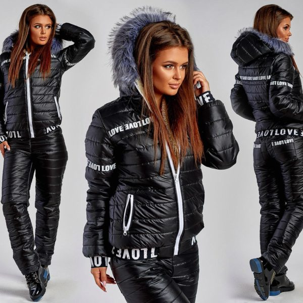 черный теплые штаны с курткой