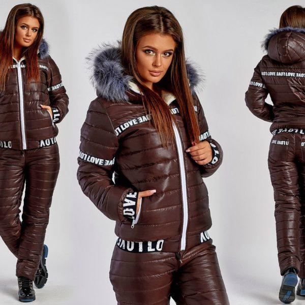 коричневый женский костюм зимний