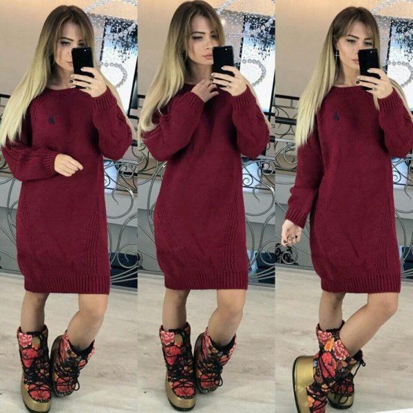 вязанное женское платье