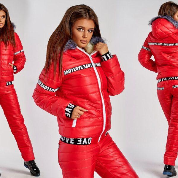 красный женский лыжный костюм