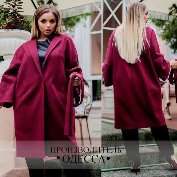 Бордовое женское пальто