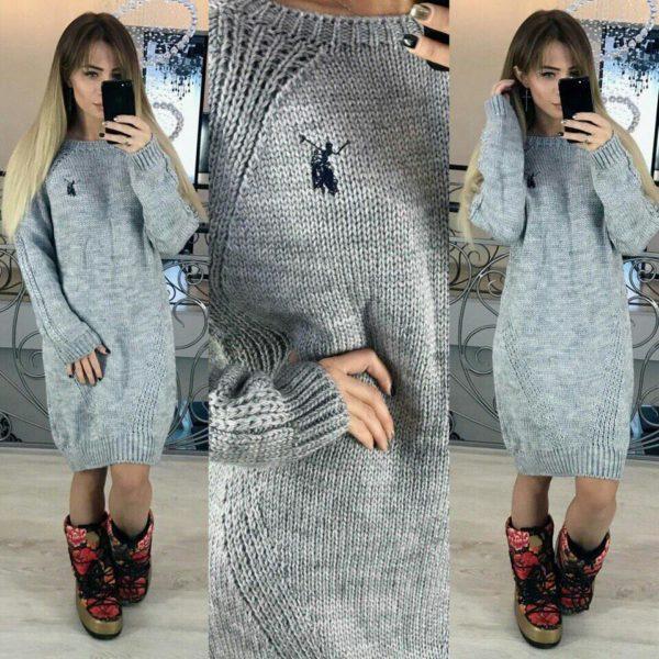 серое платье туника
