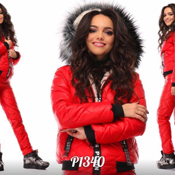 теплыый красный лыжный костюм