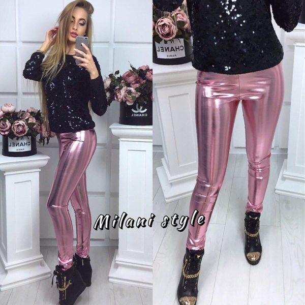 розовые кожаные лосины