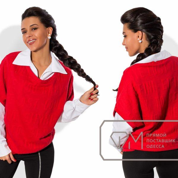 красная кофта с рубашкой
