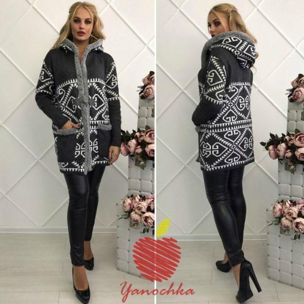 вязанное женское пальто
