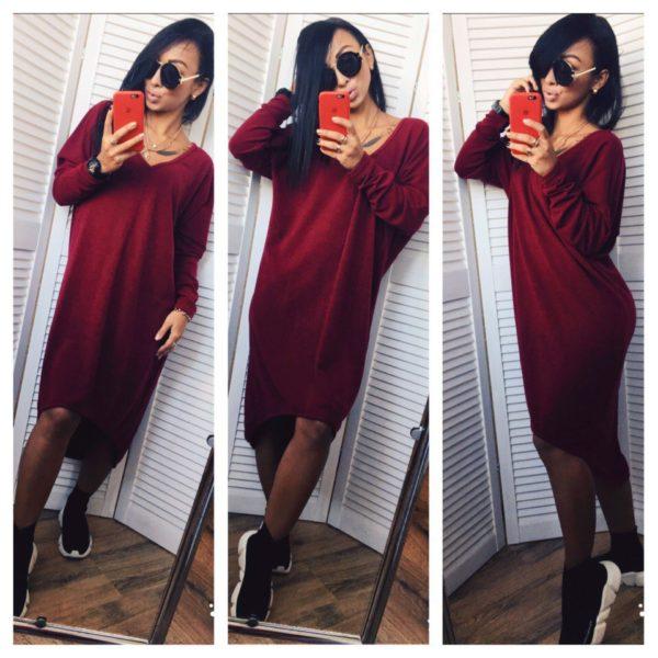 бордовое платье из ангоры