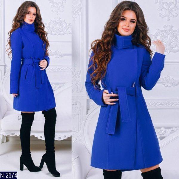 синее женское пальто