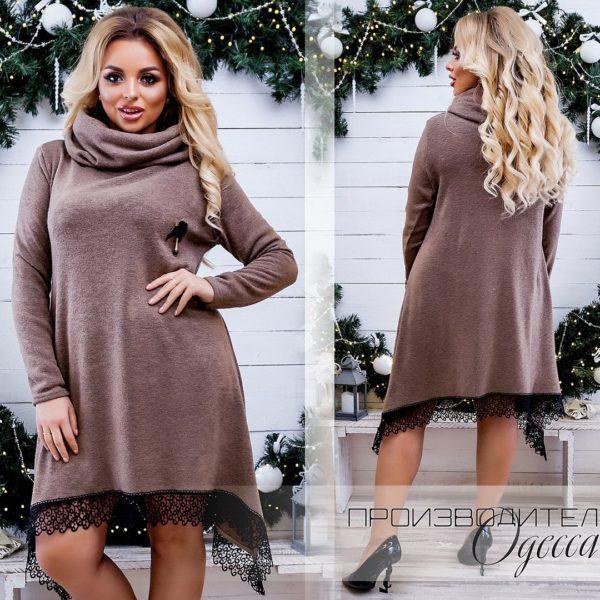 коричневое платье с воротом