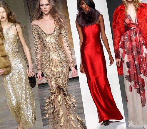 девушки в красивых длинных вечерних новогодних платьях
