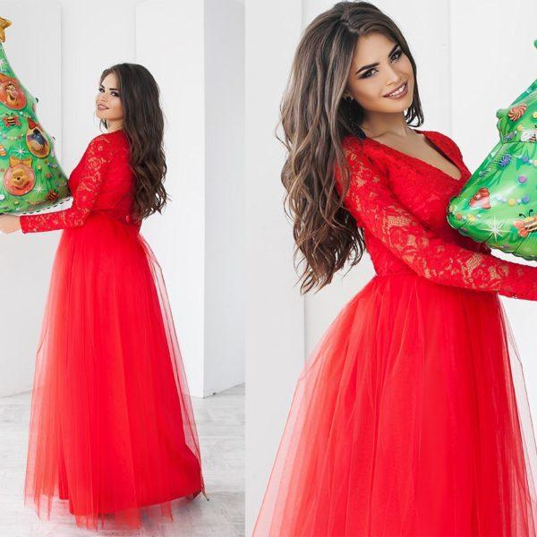 красное пышное свадебное платье