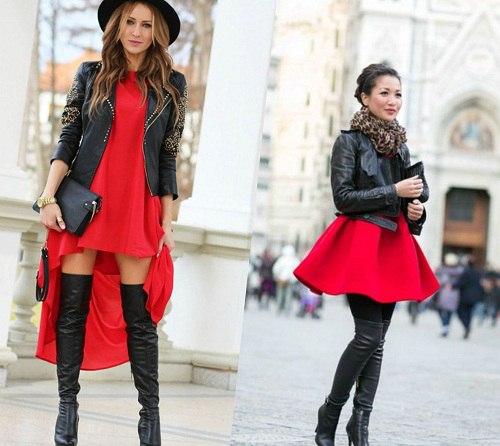 девушка скорпион в красном платье и черной кожаной куртке