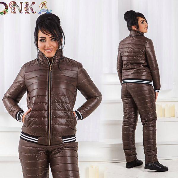 коричнеый женский лыжный костюм