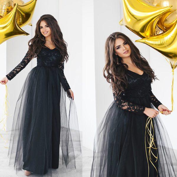длинное пышное платье