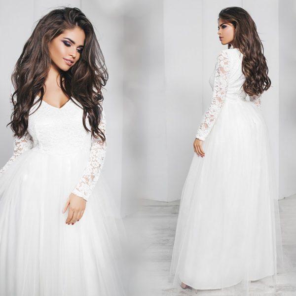 белое длинное пышное платье