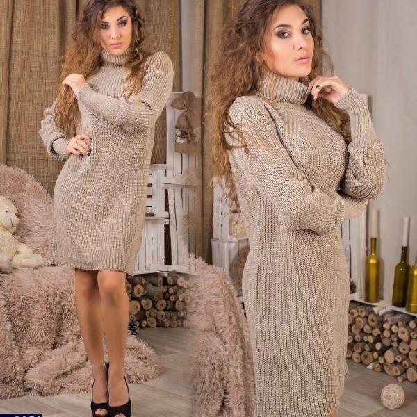 коричневое вязанное платье