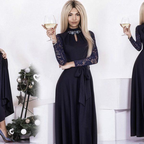 девушка в черном длинном платье