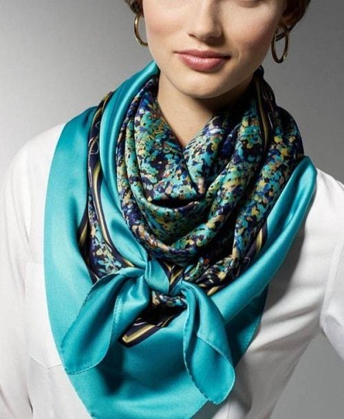 атласный берюзовый платок