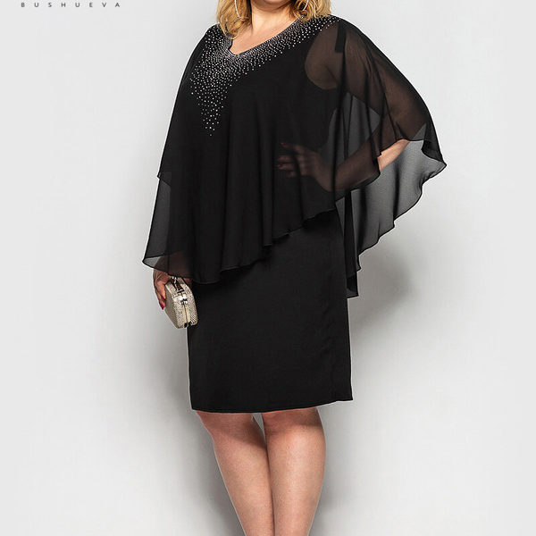 черное вечернее платье с накидкой