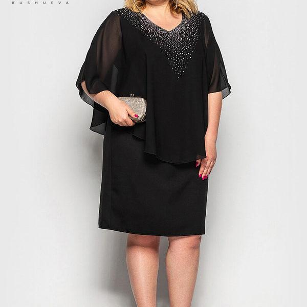 черное платье с накидкой