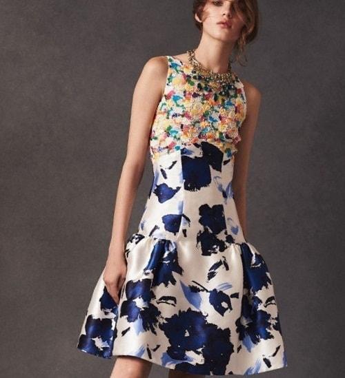 бело-синие платье с цветами