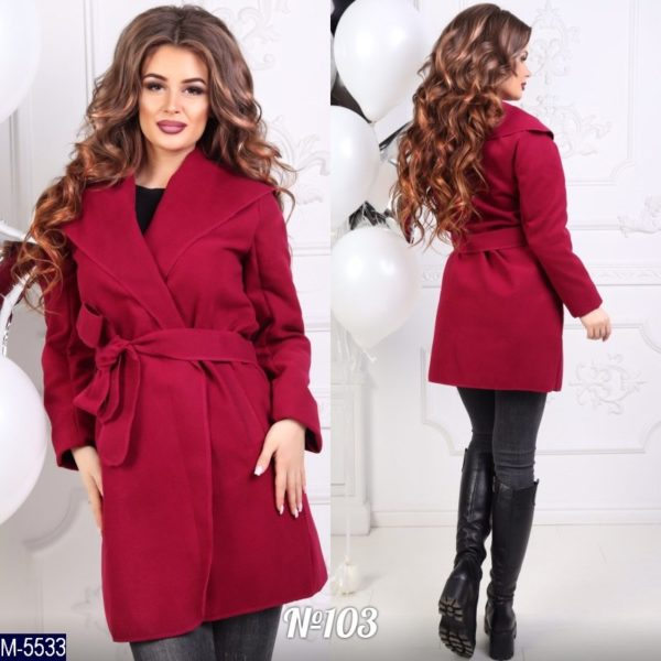 бордовое пальто с запахом