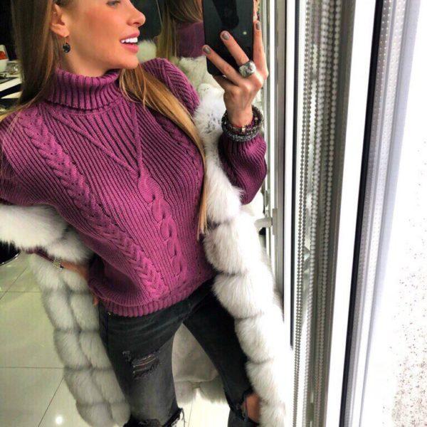 фиолетовый вязанный джемпер