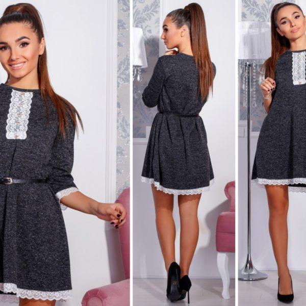 черное платье с кружевами