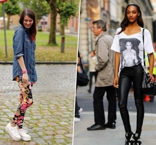 девушки в леггинсах и кроссовках