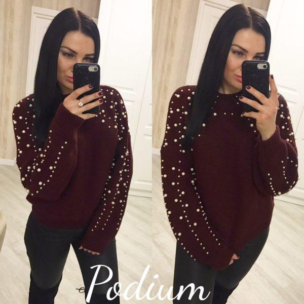 бордовый женский свитер