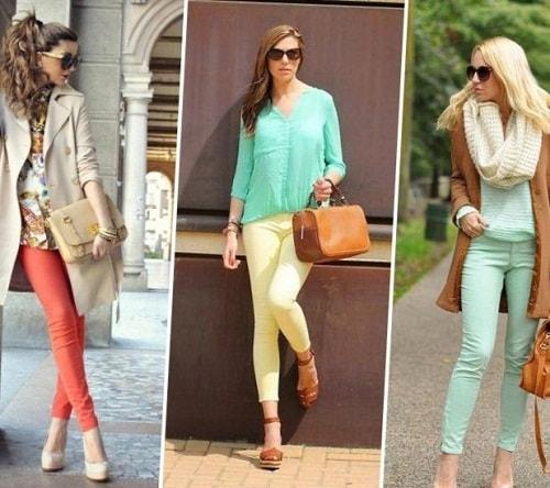 модные девушки в разноцветных брюках