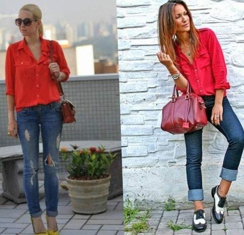 ве женщины в красном одеянии и джинсах