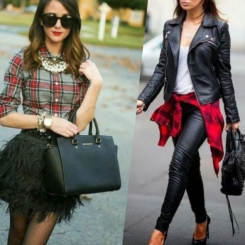 девушка в куртке и черных кожаных брюках