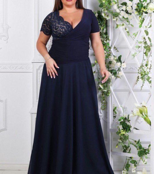 длинное вечернее платье с короткими рукавами