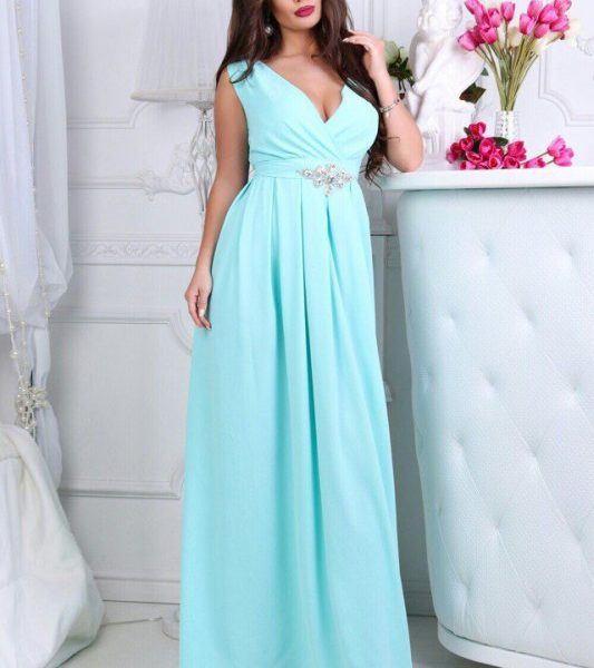 длинное вечернее платье без рукавов