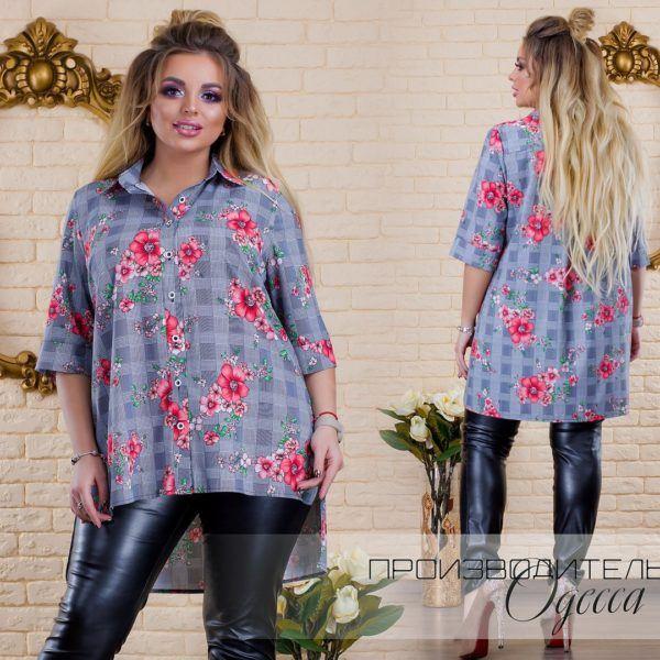 рубашка женская удлиненная сзади